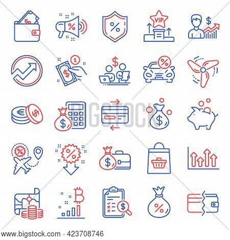 Finance Icons Set. Included Icon As Treasure Map, Wallet, Sale Megaphone Signs. Piggy Bank, Bitcoin
