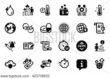 Vector Set Of Science Icons Related To World Medicine, Hydroelectricity And Seo Gear Icons. Globe, E