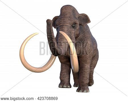 Columbian Mammoth Walking 3d Illustration - During The Ice Age Of North America The Columbian Mammot