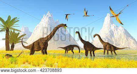 Brachiosaurus Dinosaur Marsh 3d Illustration - A Flock Of Rhamphorhynchus Reptiles Fly Over A Herd O