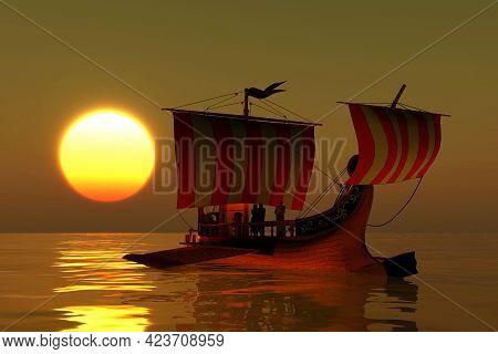 Roman Ship 3d Illustration - An Ancient Roman Merchant Galley Warship Transport A Roman Senator And