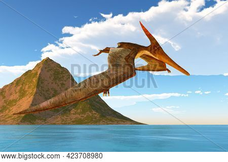 Pteranodon Afternoon Flight 3d Illustration - A Pteranodon Reptile Looks For Prey During The Cretace