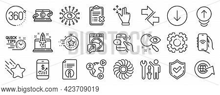 Set Of Technology Icons, Such As Internet App, Timer, Video Conference Icons. Start Business, Swipe