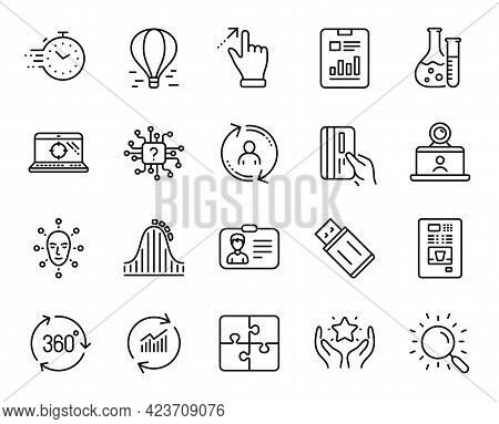 Vector Set Of Report Document, Chemistry Lab And Video Conference Line Icons Set. Artificial Intelli