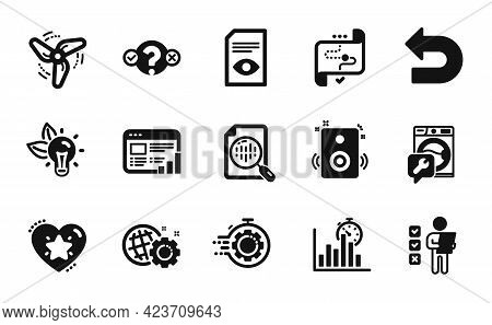 Vector Set Of Speakers, Seo Gear And Seo Timer Icons Simple Set. Wind Energy, View Document And Wash