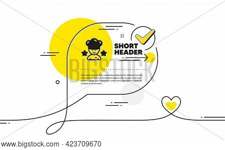 Best Chef Icon. Continuous Line Check Mark Chat Bubble. Stars Ranking Sign. Rating Symbol. Best Chef
