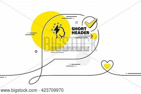 Creative Brainstorming Icon. Continuous Line Check Mark Chat Bubble. Human Head With Lightning Bolt