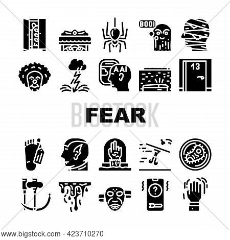 Fear Phobia Problem Collection Icons Set Vector. Monster And Vampire Fear, Ghost And Zombie, Mummy A