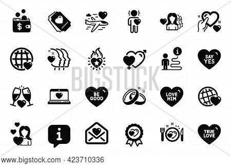 Vector Set Of Love Icons Related To Male Female, Friend And Romantic Dinner Icons. Web Love, Friends