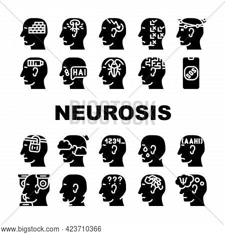 Neurosis Brain Problem Collection Icons Set Vector. Patient Neurosis And Disorder, Persecution Mania