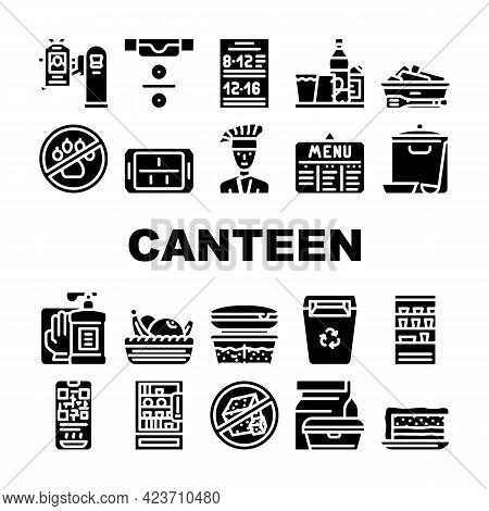 School Canteen Menu Collection Icons Set Vector. Canteen Food And Drink, Basket With Fruits And Cake