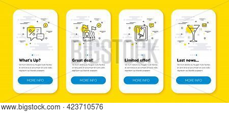 Vector Set Of Feminism, Window Cleaning And Discounts Line Icons Set. Ui Phone App Screens With Line