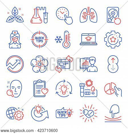 Science Icons Set. Included Icon As Fair Trade, Swipe Up, Natural Linen Signs. Seo Gear, Pie Chart,