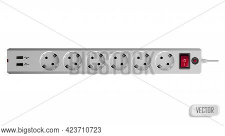 Extension Cable Cord Isolated On White Background. Electrical White Plastic Power Socket Strip Europ