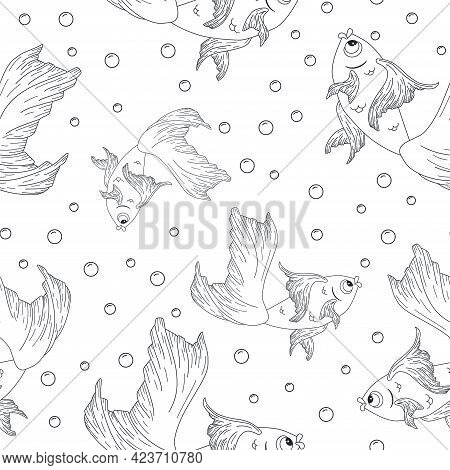 Engraving Goldfish Seamless Pattern. Line Art Gold Fish With Air Bubbles Background. Repeated Vector