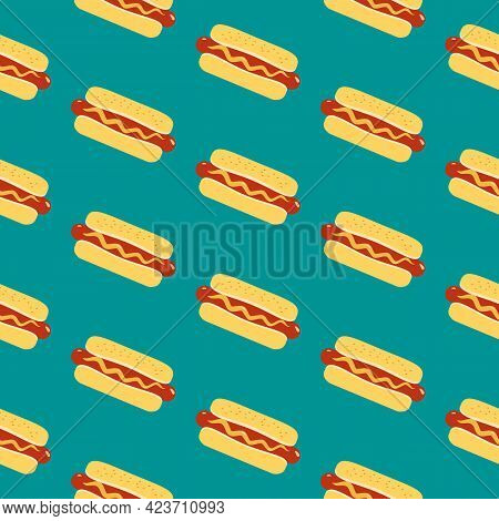 Hot Dog Sign Vector Seamless Pattern Background. Fried Sausage In Bun, Mustard Cartoon Design Elemen