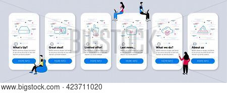 Business Icons Set. Ui Phone App Screens With Teamwork. Included Icon As Payment Methods, Cloud Comp