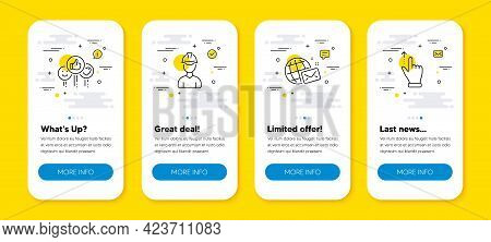 Vector Set Of Foreman, Like And World Mail Line Icons Set. Ui Phone App Screens With Line Icons. Tou