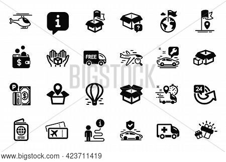 Vector Set Of Transportation Icons Related To Gift, Package Location And Car Service Icons. Hold Box