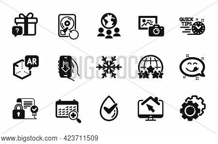 Vector Set Of Settings Gears, Augmented Reality And Rating Stars Icons Simple Set. Download App, Wor