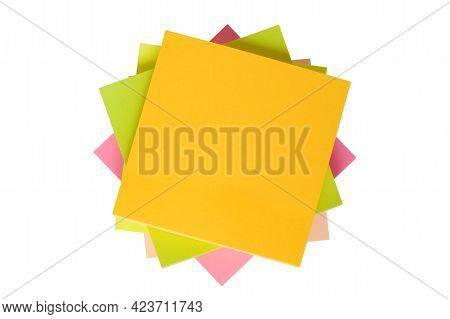 Top View Of Colorful Sticky Note Papers Isolated On White.