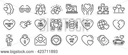 Set Of Love Icons, Such As Friends Chat, Wedding Glasses, Heart Icons. Honeymoon Travel, Marry Me, F