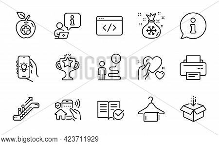 Business Icons Set. Included Icon As Santa Sack, Electric App, Escalator Signs. Victory, Printer, Ho