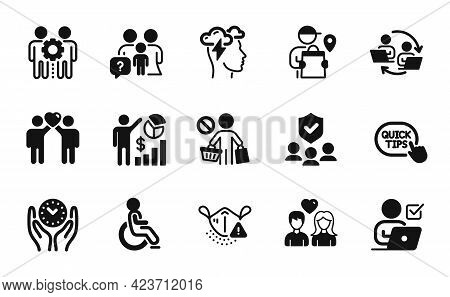 Vector Set Of Friends Couple, Medical Mask And Safe Time Icons Simple Set. Teamwork Process, Family