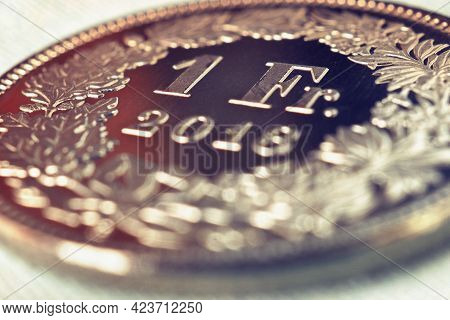 1 Swiss Franc Coin Close-up. Tinted Illustration About The Economy, Business, Money And Finance Of S