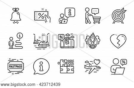 Holidays Icons Set. Included Icon As Broken Heart, Bell, Archery Signs. Bumper Cars, Buyer Think, Cl