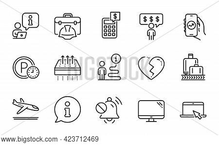 Business Icons Set. Included Icon As Broken Heart, Mute Sound, Parking Time Signs. Computer, Baggage