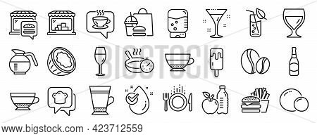 Set Of Food And Drink Icons, Such As Food, Ice Cream, Cocktail Icons. Market, Fast Food, Coconut Sig