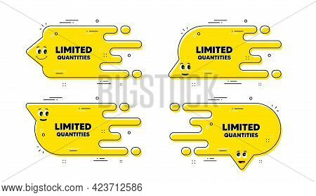 Limited Quantities Text. Cartoon Face Transition Chat Bubble. Special Offer Sign. Sale Promotion Sym