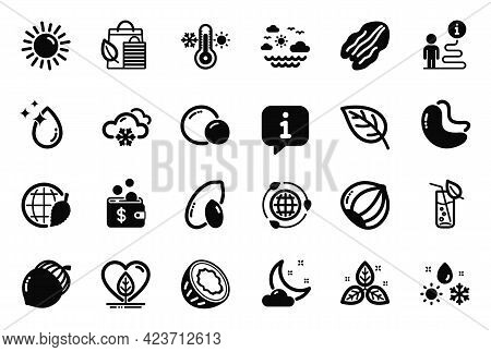 Vector Set Of Nature Icons Related To Peas, Pecan Nut And Hazelnut Icons. Fair Trade, Weather And Lo