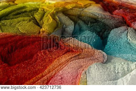 Abstract 3d Rendering Macro Render Structure Made Of Millions Colorful Columns.  Fractal Texture Bac