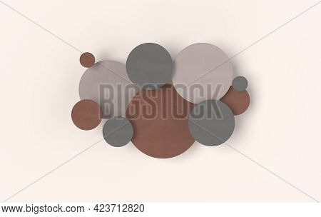 Round Disc Abstract Background, Depth Of Field Effect. Modern Cellular Panel With Circles, Ceramic O