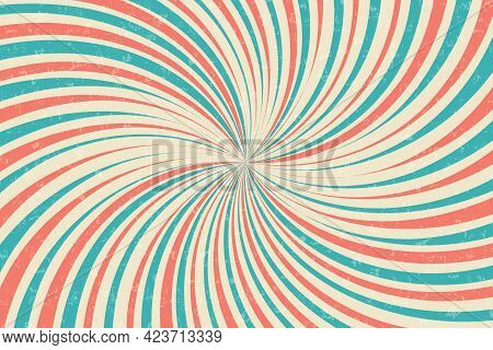 Vintage Circus Vector Background. Spinning Backgorund Colorful Stripes. Sunbeams Retro Grunge Poster