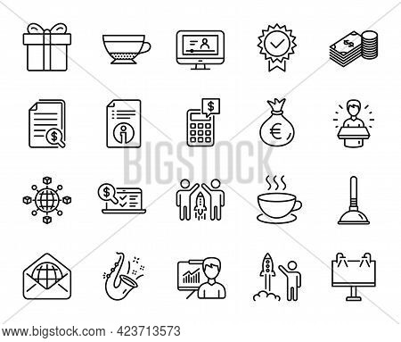 Vector Set Of Plunger, Cappuccino And Online Video Line Icons Set. Partnership, Certificate And Savi