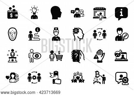 Vector Set Of People Icons Related To Edit Person, Video Conference And Market Seller Icons. Bitcoin