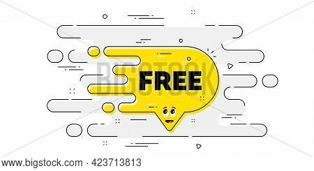 Free Transition Bubble. Geometric Ad Banner On Flow Pattern. Cartoon Face Character Chat Message. Ye