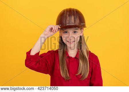 Future Career Of Teen Girl In Helmet Builder With Concept Of Childhood Development, Happy Labour Day