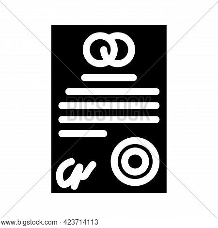 Marriage Contract Glyph Icon Vector. Marriage Contract Sign. Isolated Contour Symbol Black Illustrat