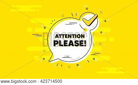 Attention Please Text. Check Mark Yellow Chat Banner. Special Offer Sign. Important Information Symb