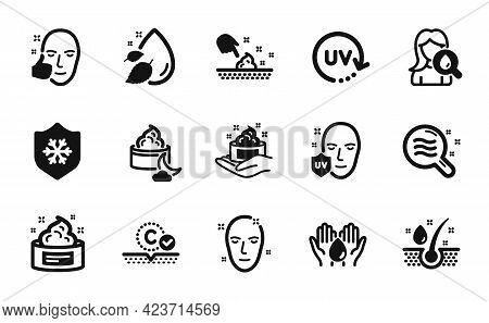Vector Set Of Skin Cream, Moisturizing Cream And Clean Skin Icons Simple Set. Serum Oil, Uv Protecti