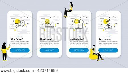 Set Of Business Icons, Such As Lightning Bolt, Online Rating, Secret Gift Icons. Ui Phone App Screen