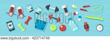Fitness Equipments Sport Accessories Gym Things Stuff For Training. Top View. Diet And Healthy Lifes