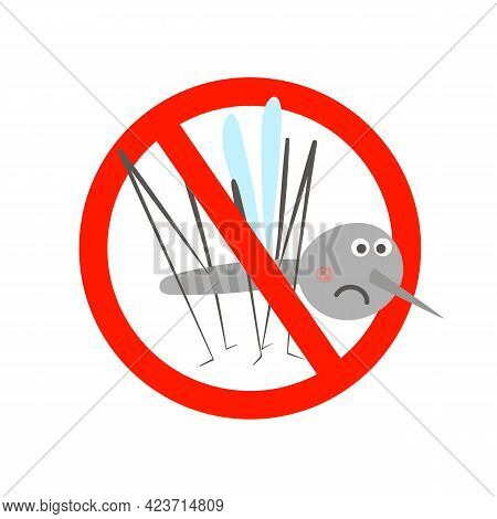 Cute Mosquito Insect In Prohibitory Sign. Stop Mosquito Vector