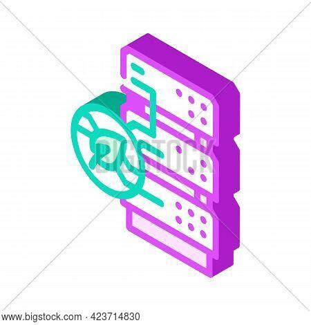 Server Chia Cryptocurrency Isometric Icon Vector. Server Chia Cryptocurrency Sign. Isolated Symbol I
