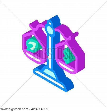 Money Or Chia Cryptocurrency Balance Scale Isometric Icon Vector. Money Or Chia Cryptocurrency Balan