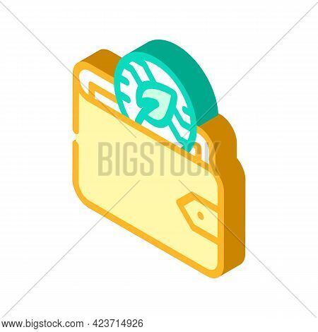 Wallet Accessory Chia Cryptocurrency Isometric Icon Vector. Wallet Accessory Chia Cryptocurrency Sig